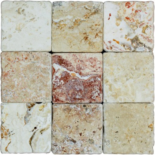 Leonardo Classic Tumbled Travertine Mosaic Tiles 4x4
