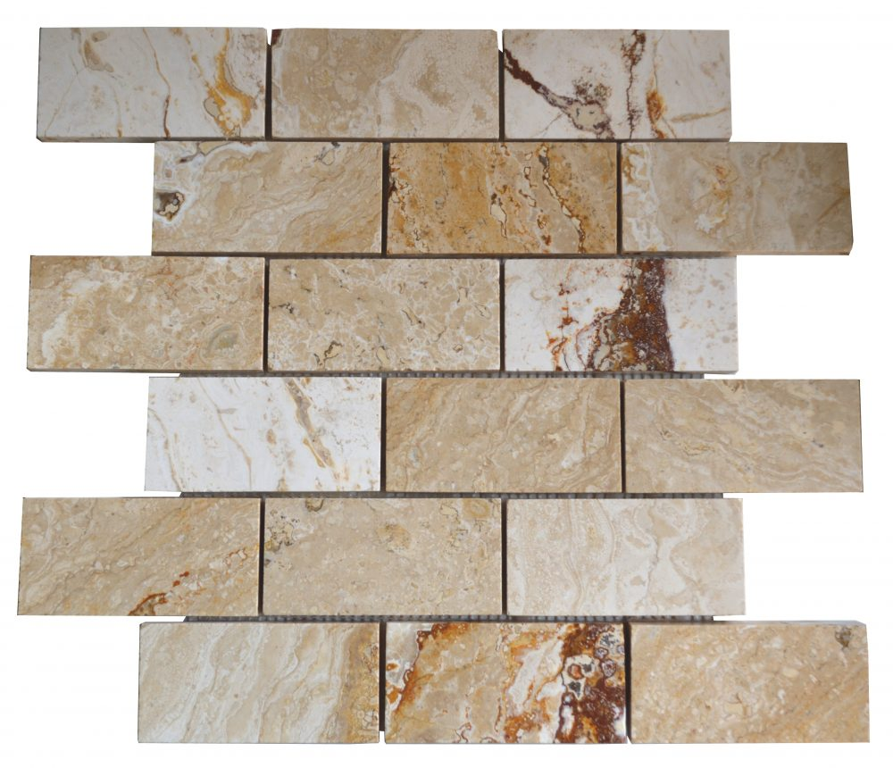 Leonardo Polished Travertine Mosaic Tiles 2x4