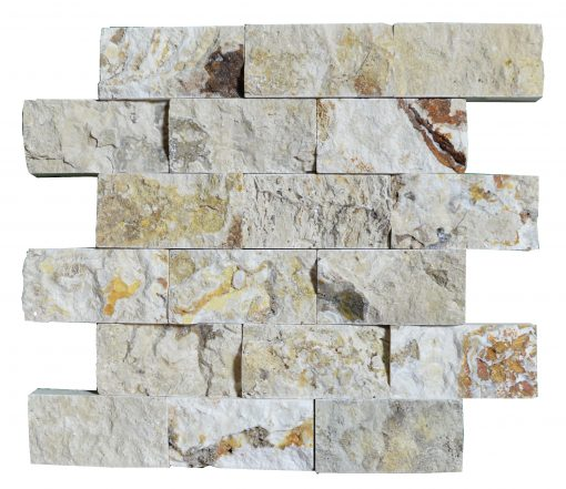 Leonardo Split Face Travertine Mosaic Tiles 2x4