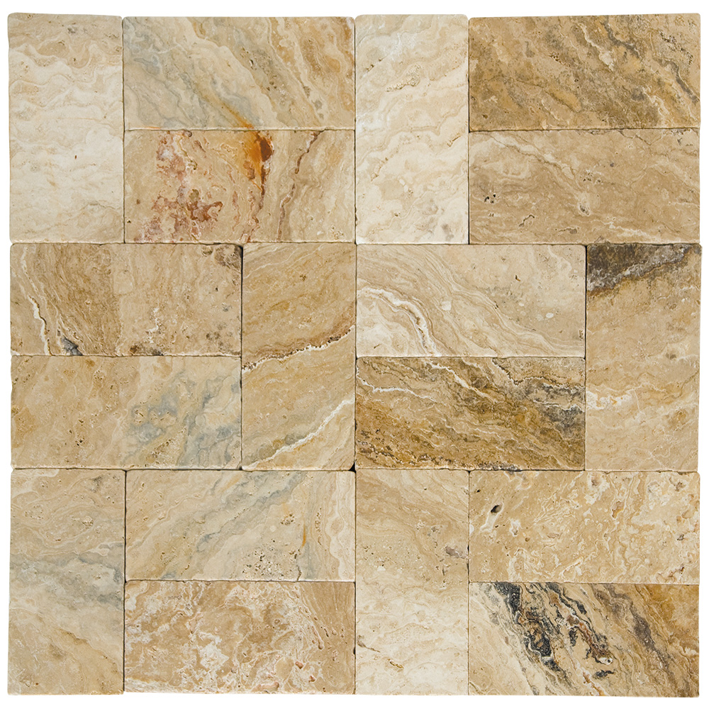 Leonardo Tumbled Travertine Pavers 6x12