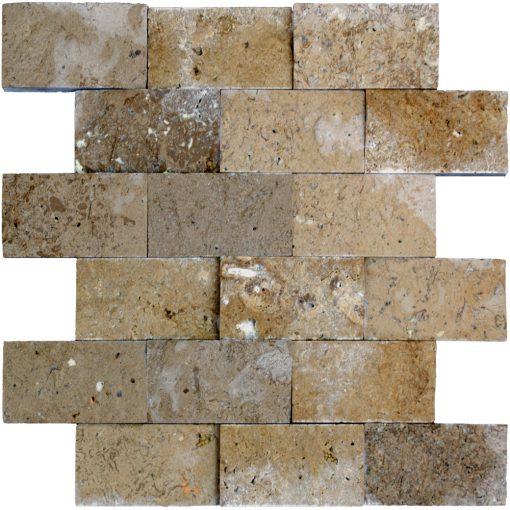 Noce Split Face Travertine Mosaic Tiles 2x4