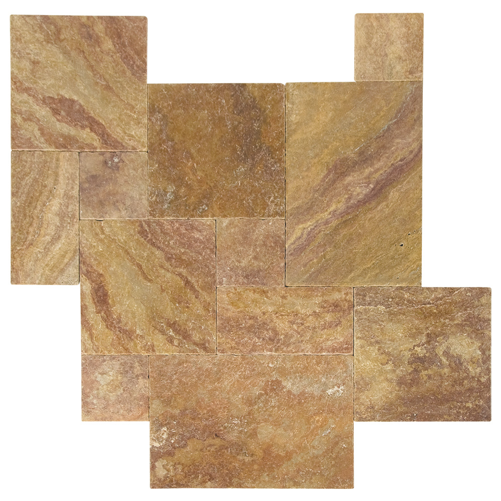 Peach Blend Tumbled French Pattern Travertine Pavers