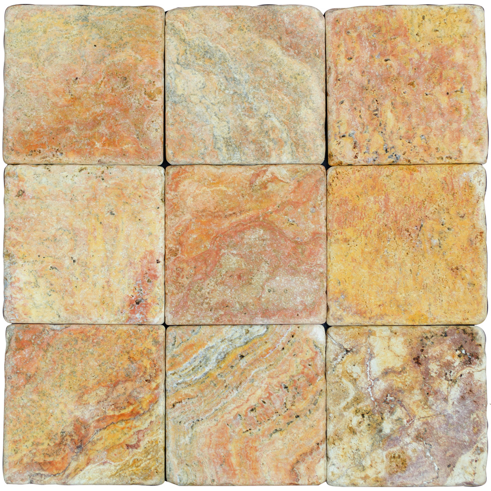 Peach Blend Tumbled Travertine Mosaic Tiles 4x4