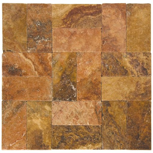 Peach Blend Tumbled Travertine Pavers 6x12