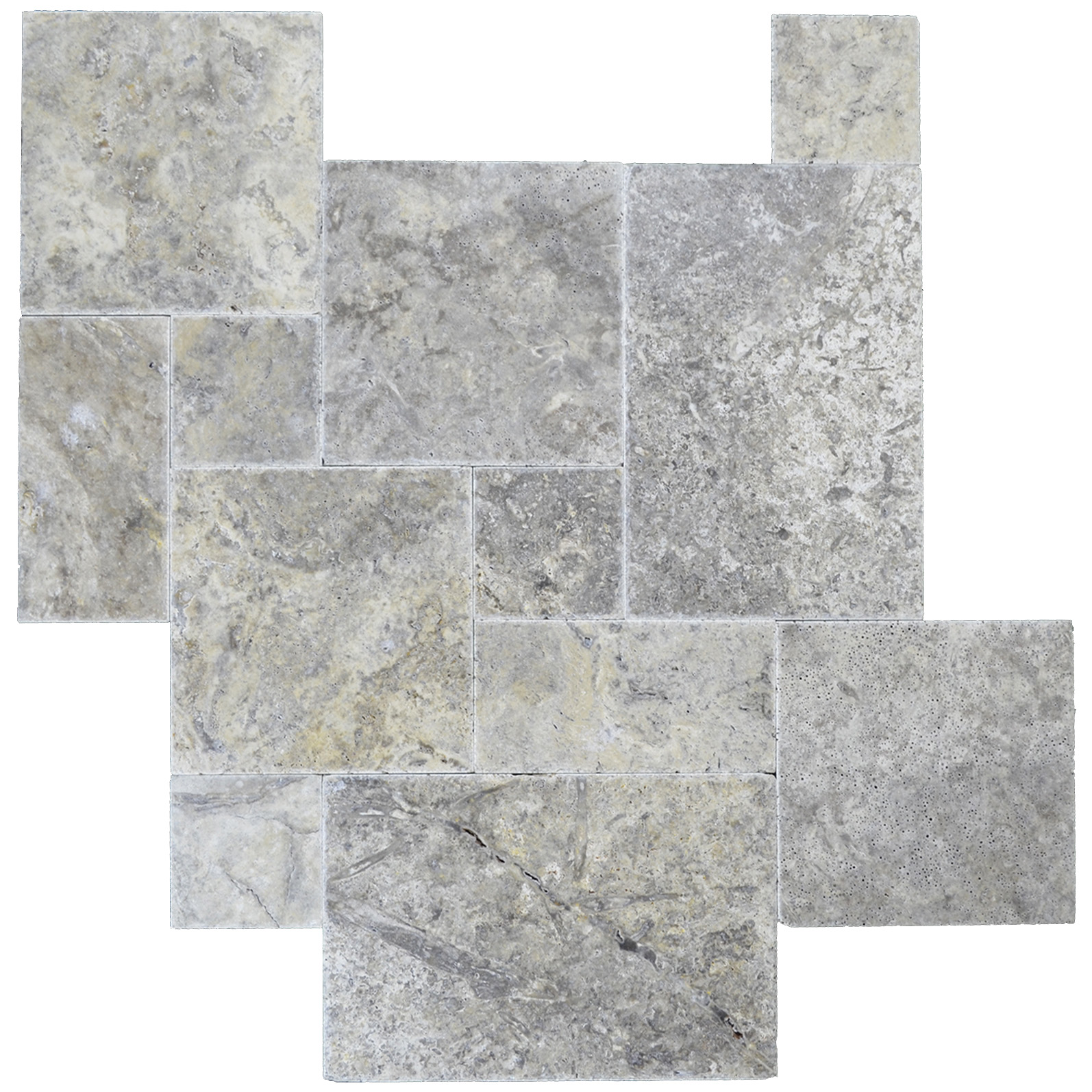 Silver Brushed Chiseled French Pattern Travertine Tiles - Natural ...