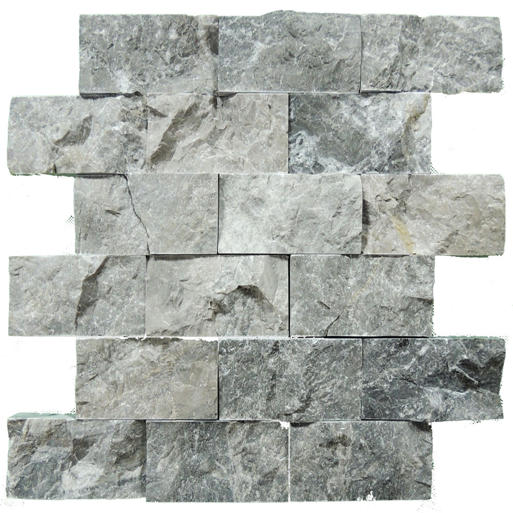 Silver Split Face Marble Mosaic Tiles 2x4