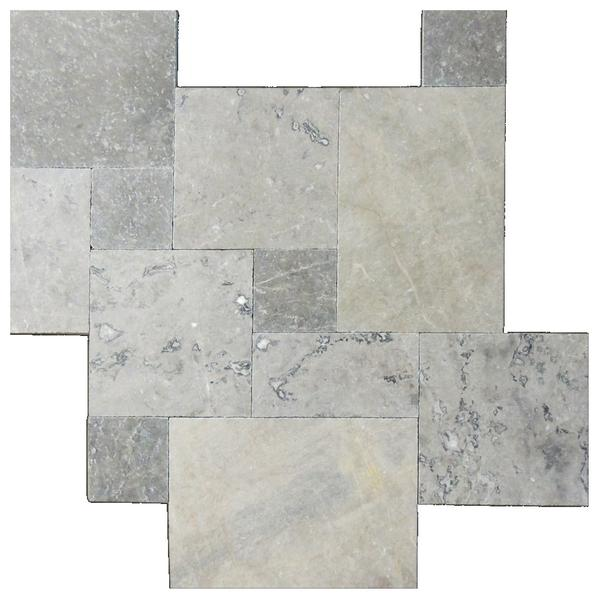 Silver Tumbled French Pattern Marble Pavers