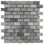 Silver Tumbled Marble Mosaic Tiles 1x2