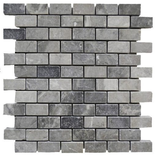 Silver Tumbled Marble Mosaic Tiles 1x2