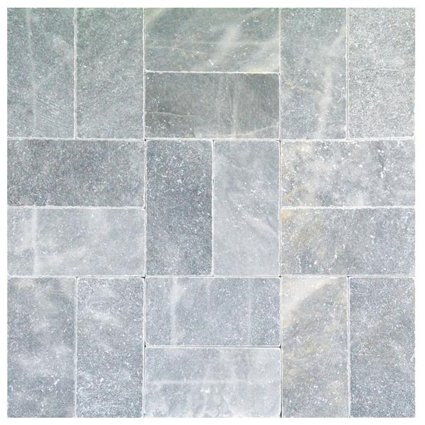 Sky Blue Tumbled Marble Pavers 6x12