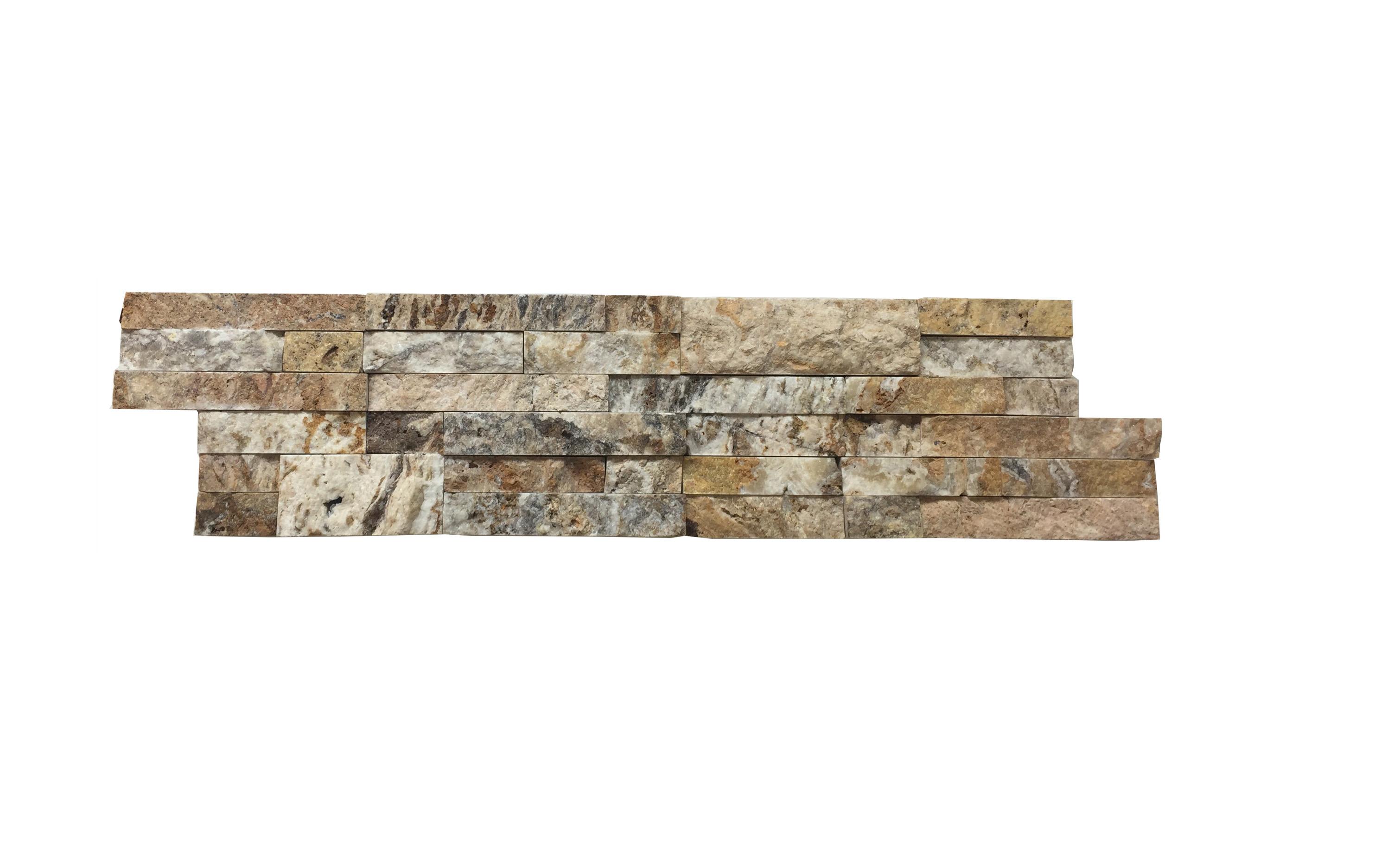Tiger Skin Linear Split Face Travertine Mosaic Tiles 6x24