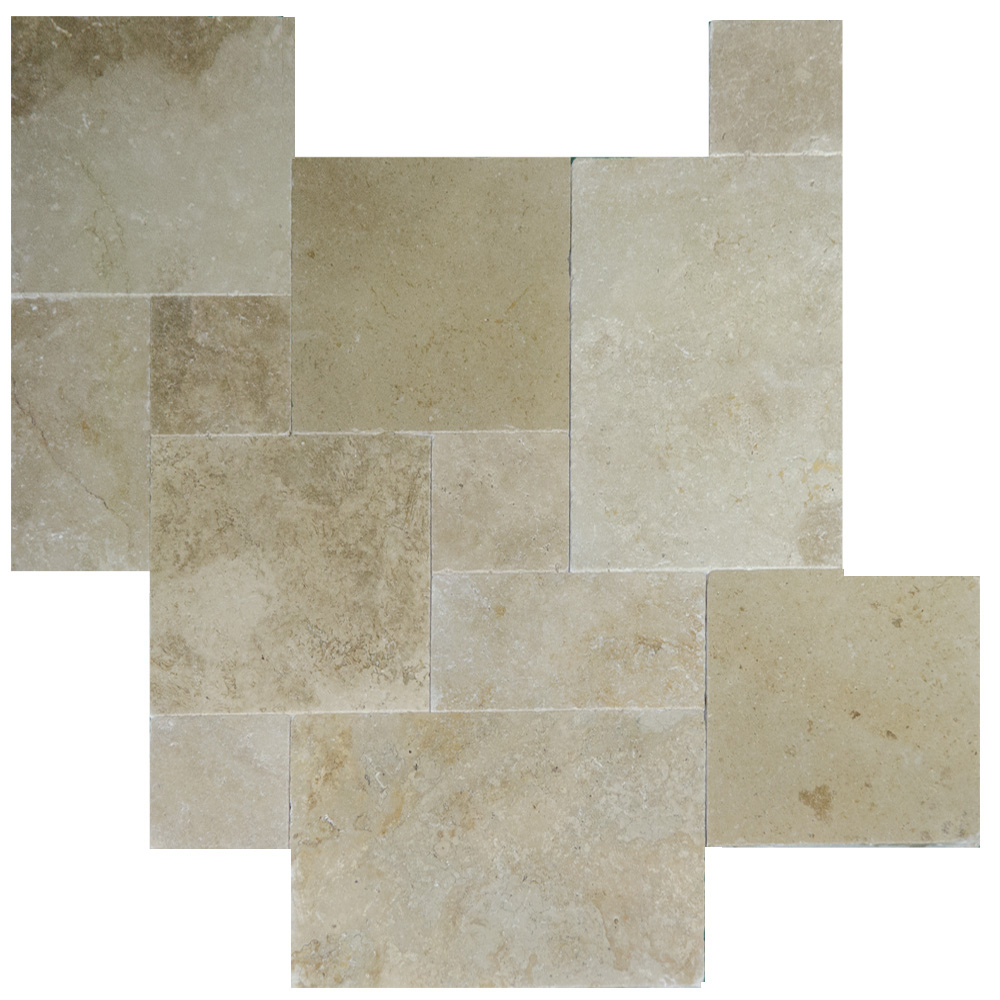 Walnut Tumbled French Pattern Travertine Pavers