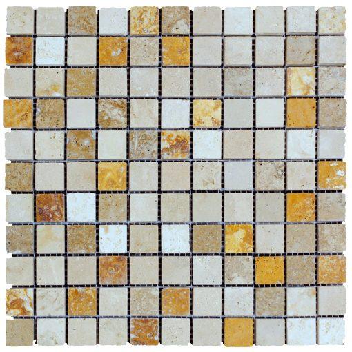 White Gold Noce Mix Tumbled Travertine Mosaic Tiles 1x1