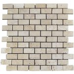 White Tumbled Travertine Mosaic Tiles 1x2