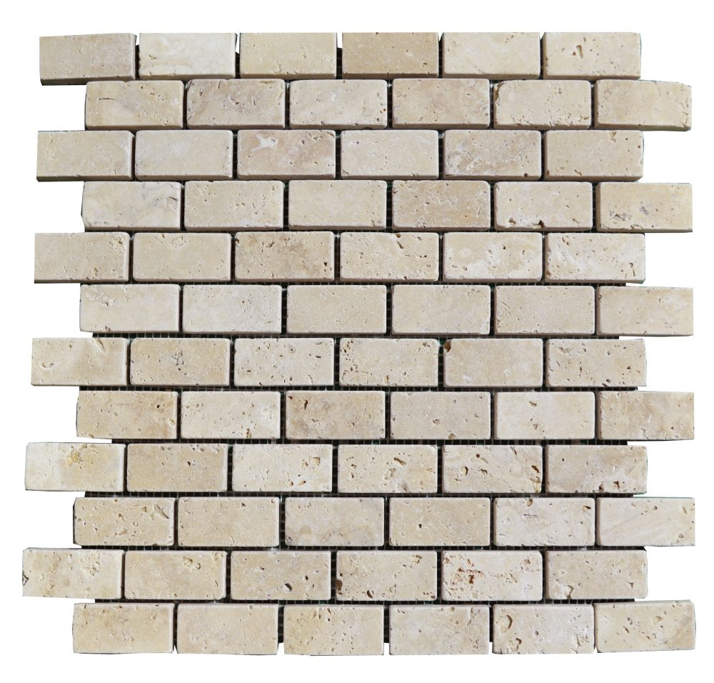 White Tumbled Travertine Mosaic Tiles 1x2 Natural Stone