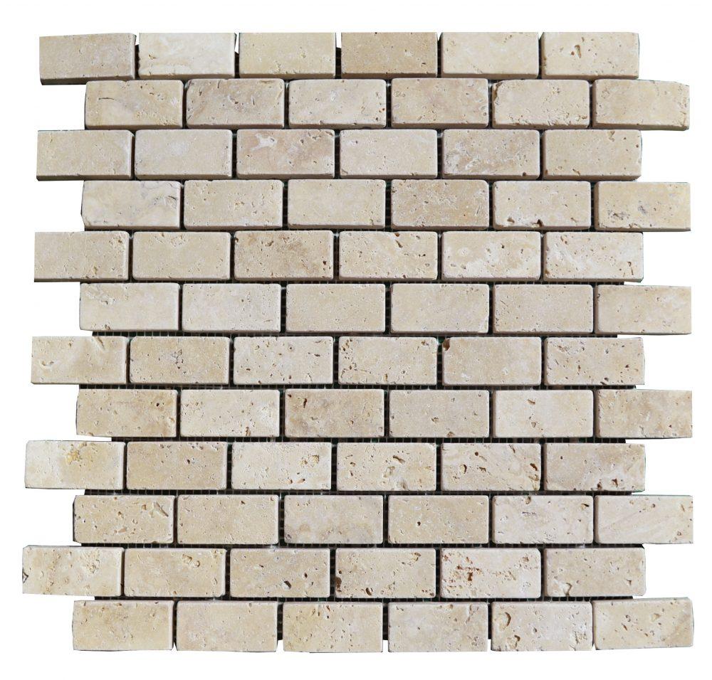 White Tumbled Travertine Mosaic Tiles 1x2