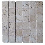 White Tumbled Travertine Mosaic Tiles 2x2
