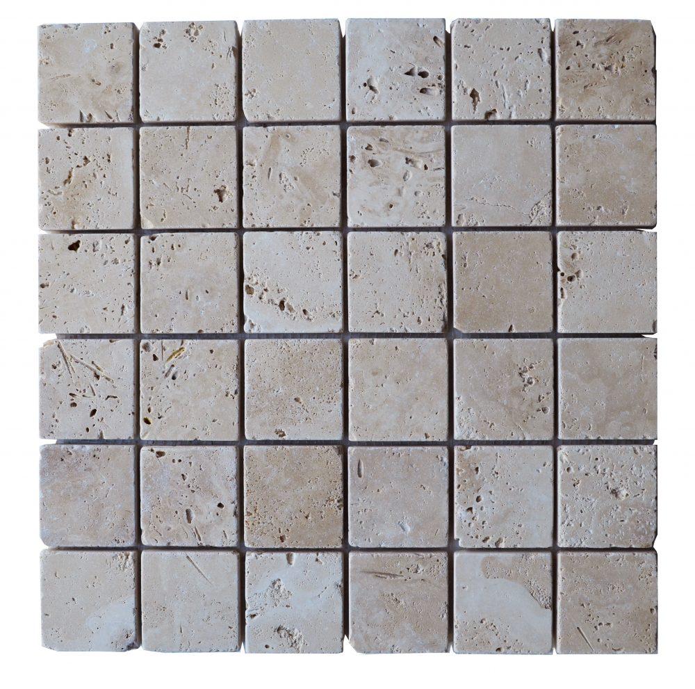 White Tumbled Travertine Mosaic Tiles 2x2