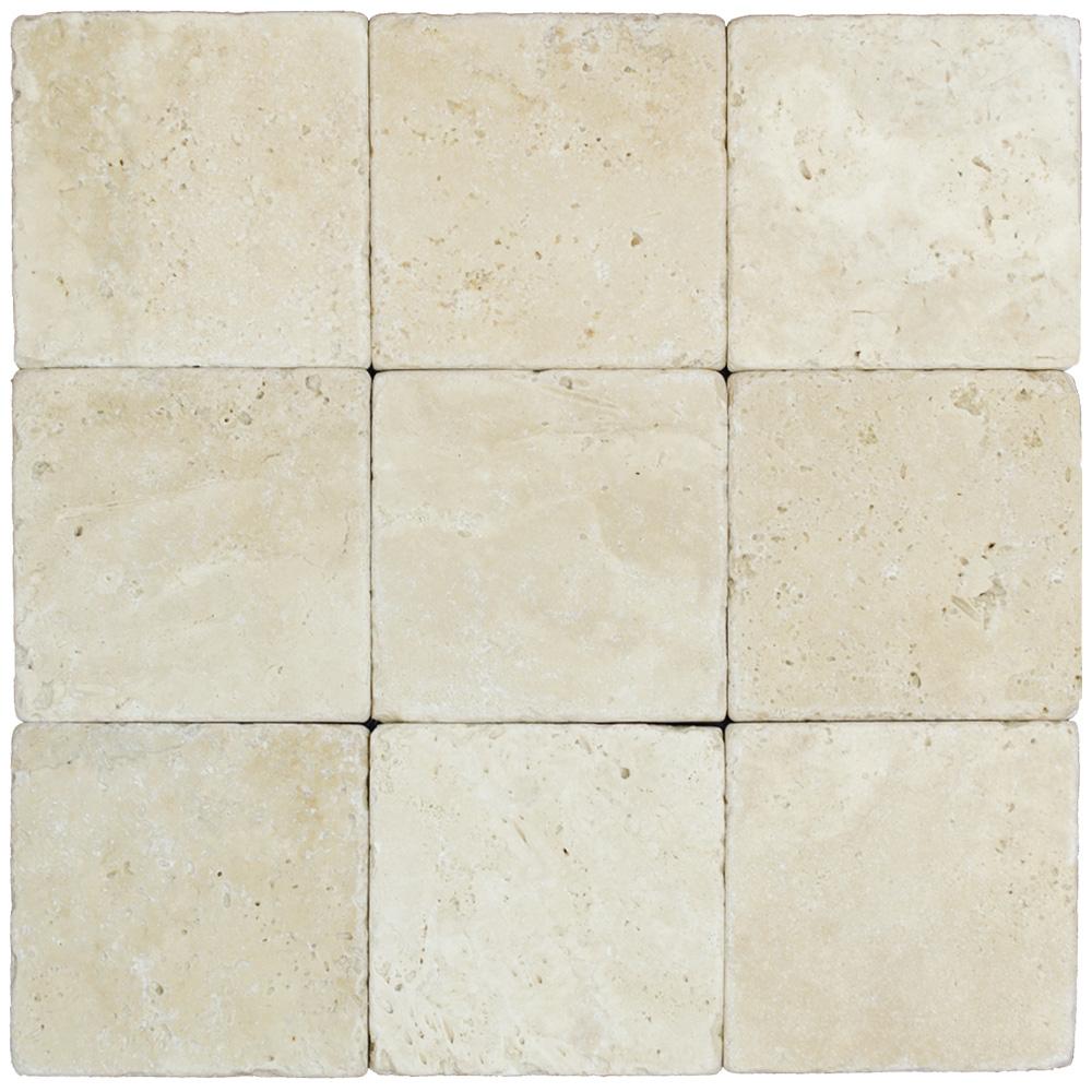 White Tumbled Travertine Mosaic Tiles 4x4