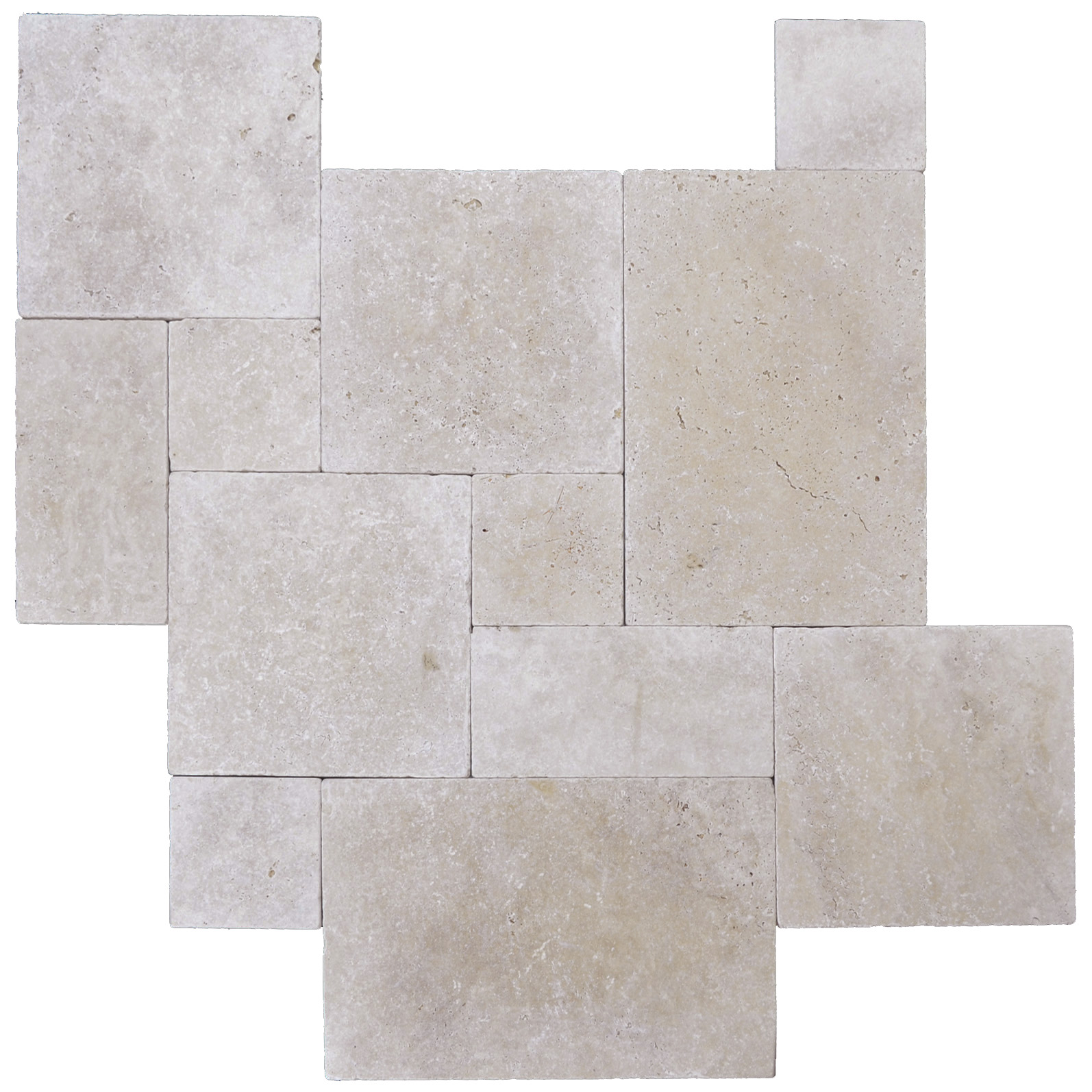 White Tumbled French Pattern Travertine Tiles-Travertine tiles sale-Atlantic Stone Source