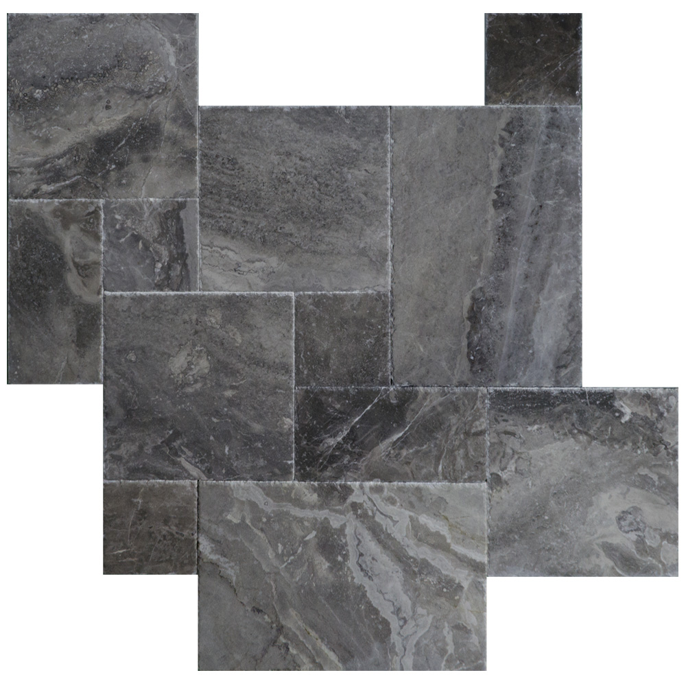 Silver Gray Brushed Chiseled French Pattern Marble Tiles