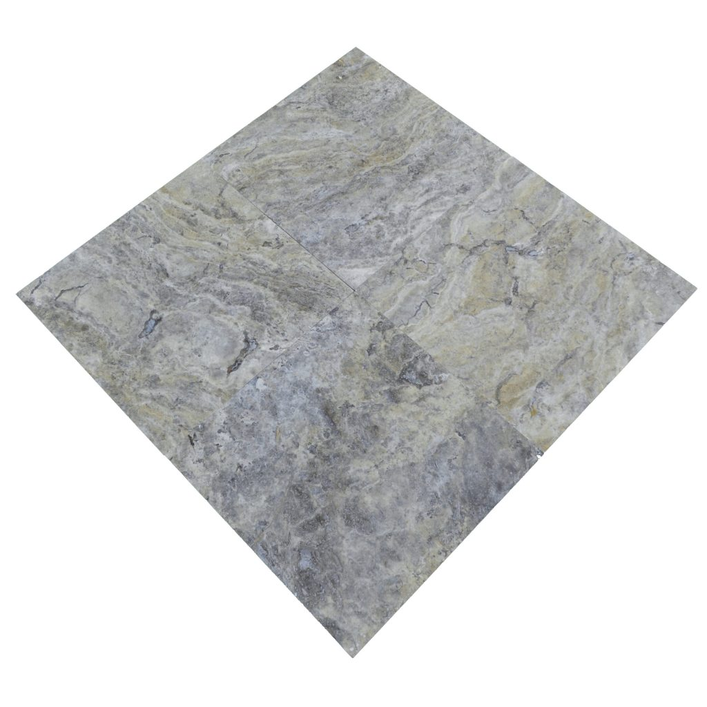Ivory Light Honed Filled Travertine Tiles 18x18: Silver Honed Filled Travertine Tiles 18x18