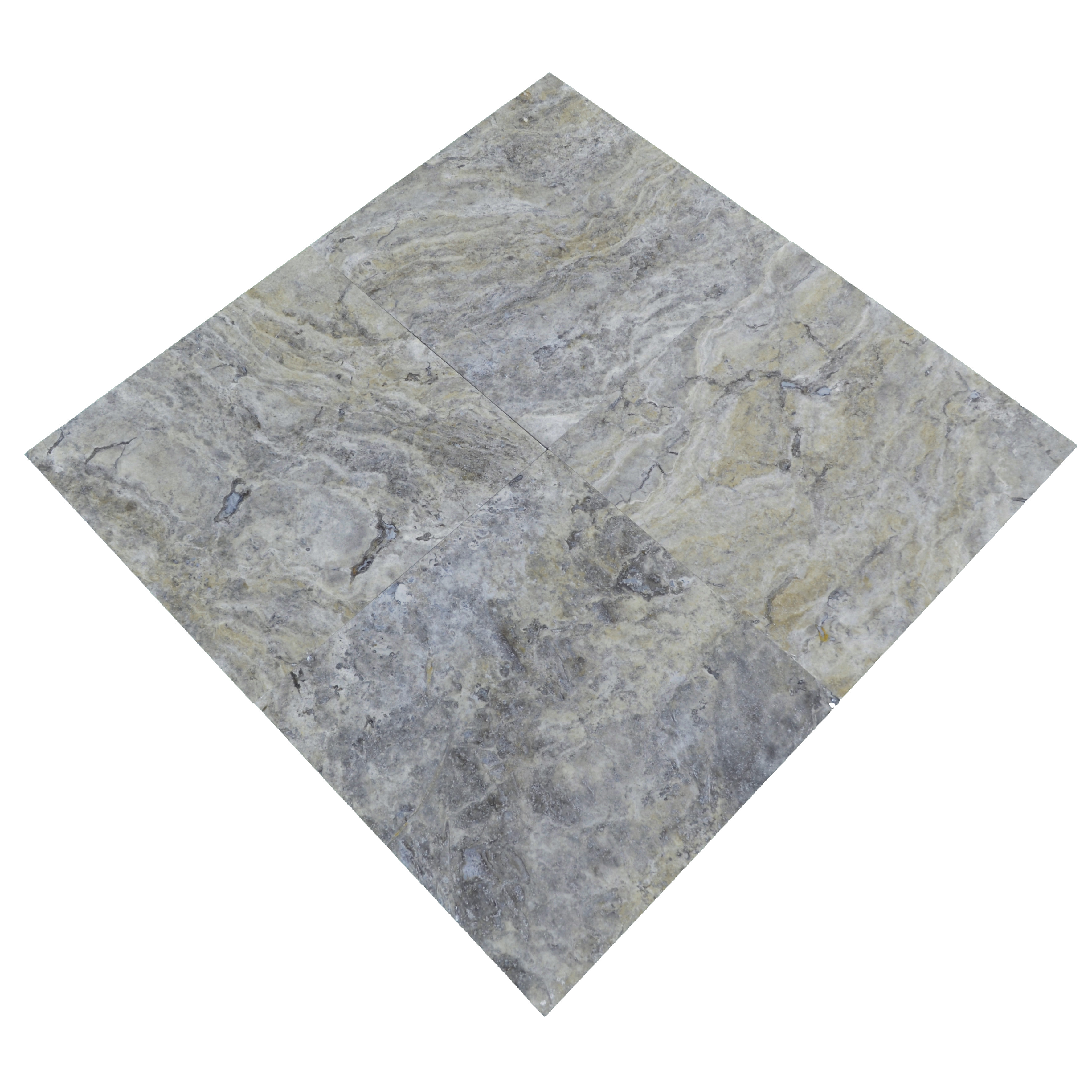 silver honed and filled travertine tiles 18x18-Travertine tiles sale-Atlantic Stone Source