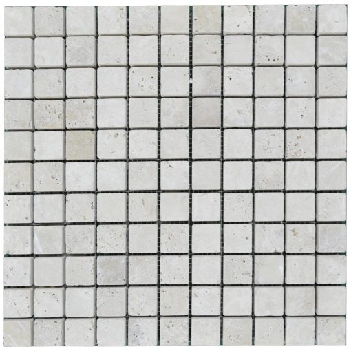 white tumbled travertine mosaic tiles 1x1