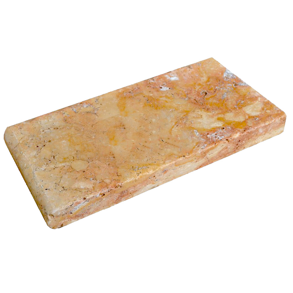 Antique Blend Bullnose Travertine Pool Copings 6x12-pool copings sale-Atlantic Stone Source