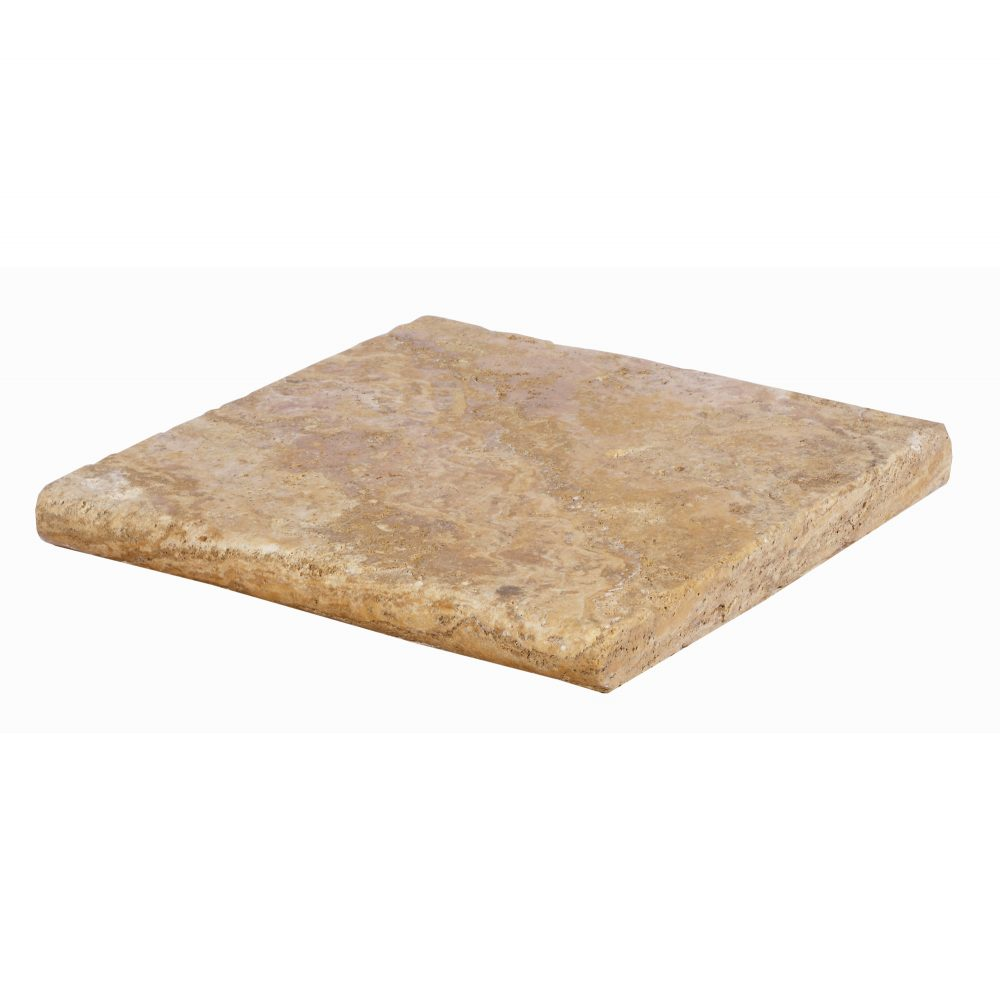 Gold Bullnose Travertine Pool Copings 12x12-pool copings sale-Atlantic Stone Source