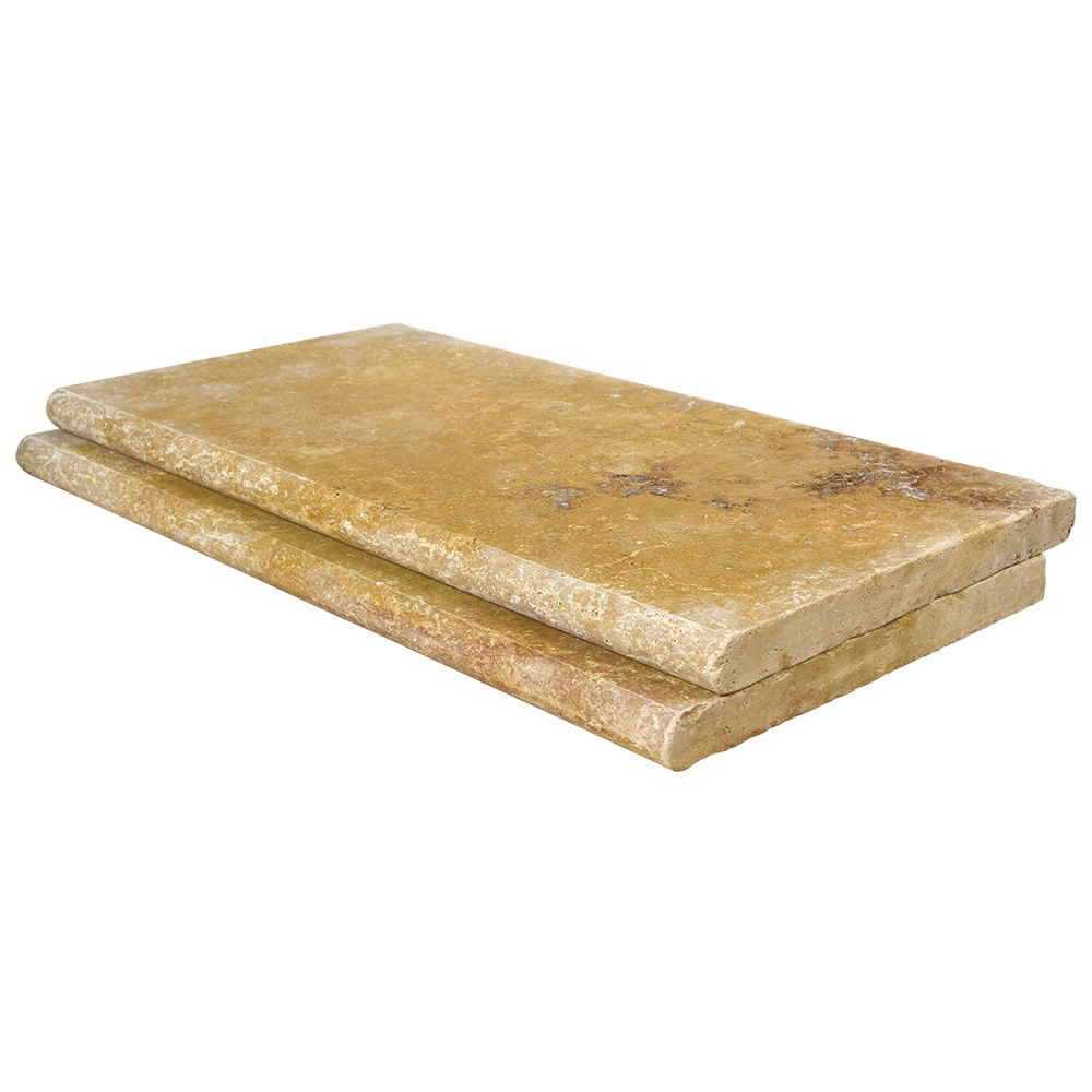 Gold Bullnose Travertine Pool Copings 12x24-pool copings sale-Atlantic Stone Source