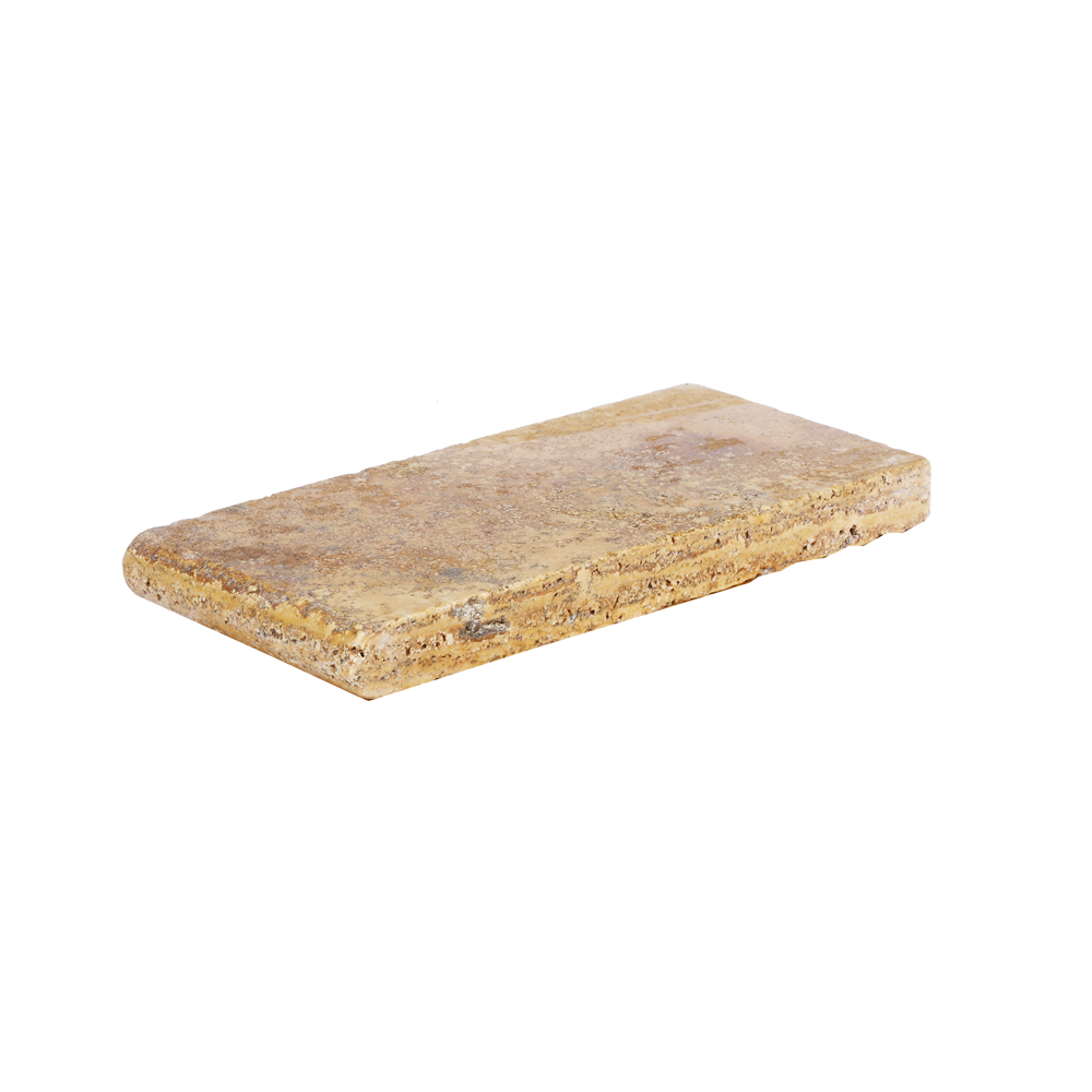 Gold Bullnose Travertine Pool Copings 6x12-pool copings sale-Atlantic Stone Source