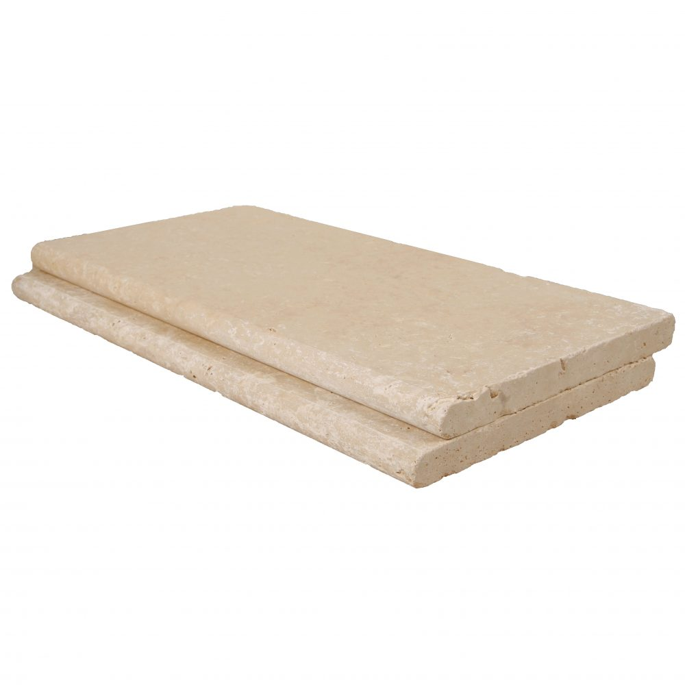 Ivory Bullnose Travertine Pool Copings 12x24-pool copings sale-Atlantic Stone Source