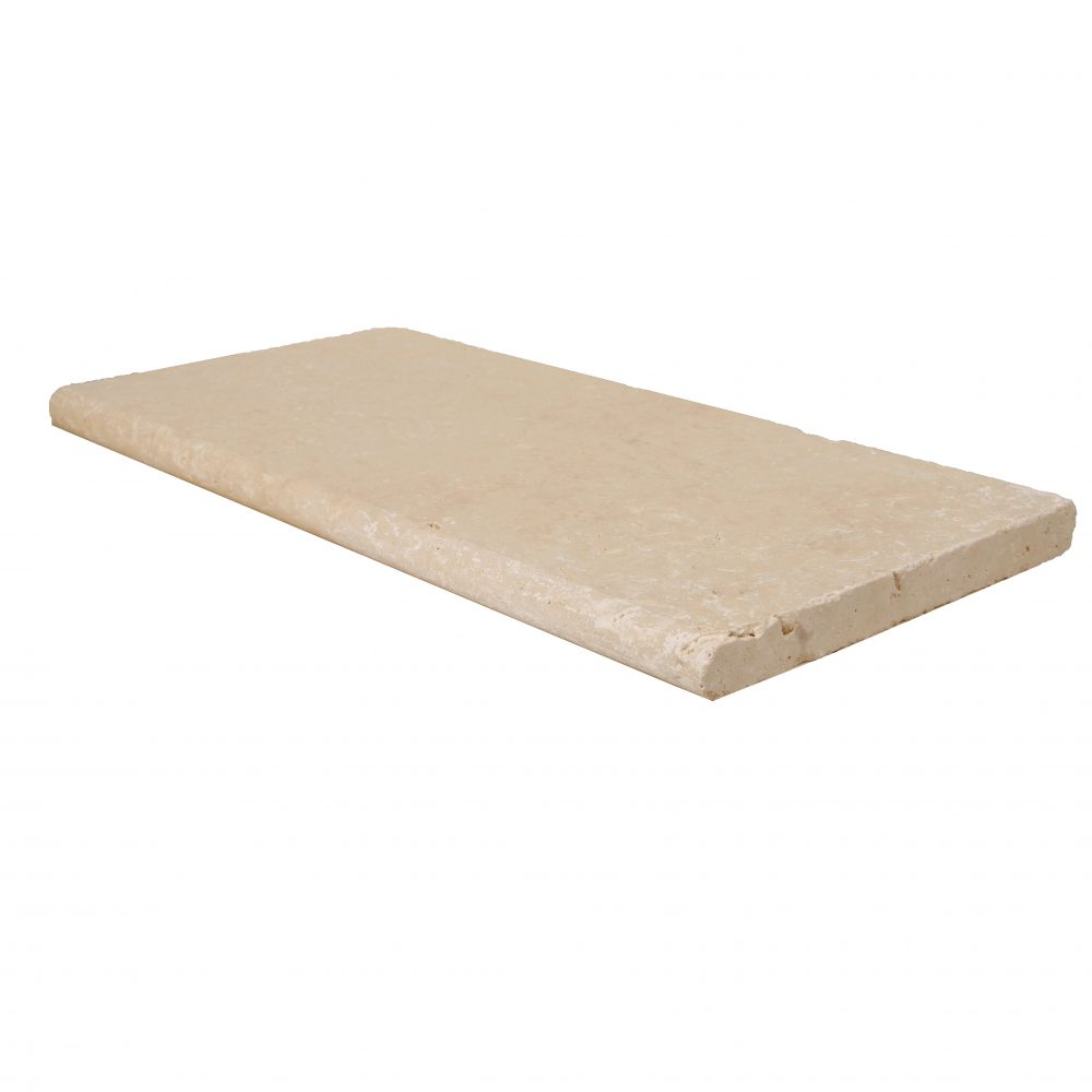 Ivory Bullnose Travertine Pool Copings 12x24-pool copings sale-Atlantic Stone Source