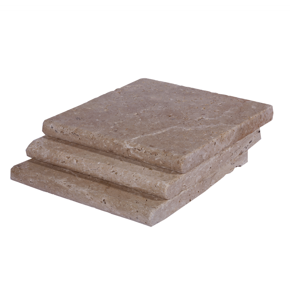 Noce Bullnose Travertine Pool Copings 12x12-pool copings sale-Atlantic Stone Source