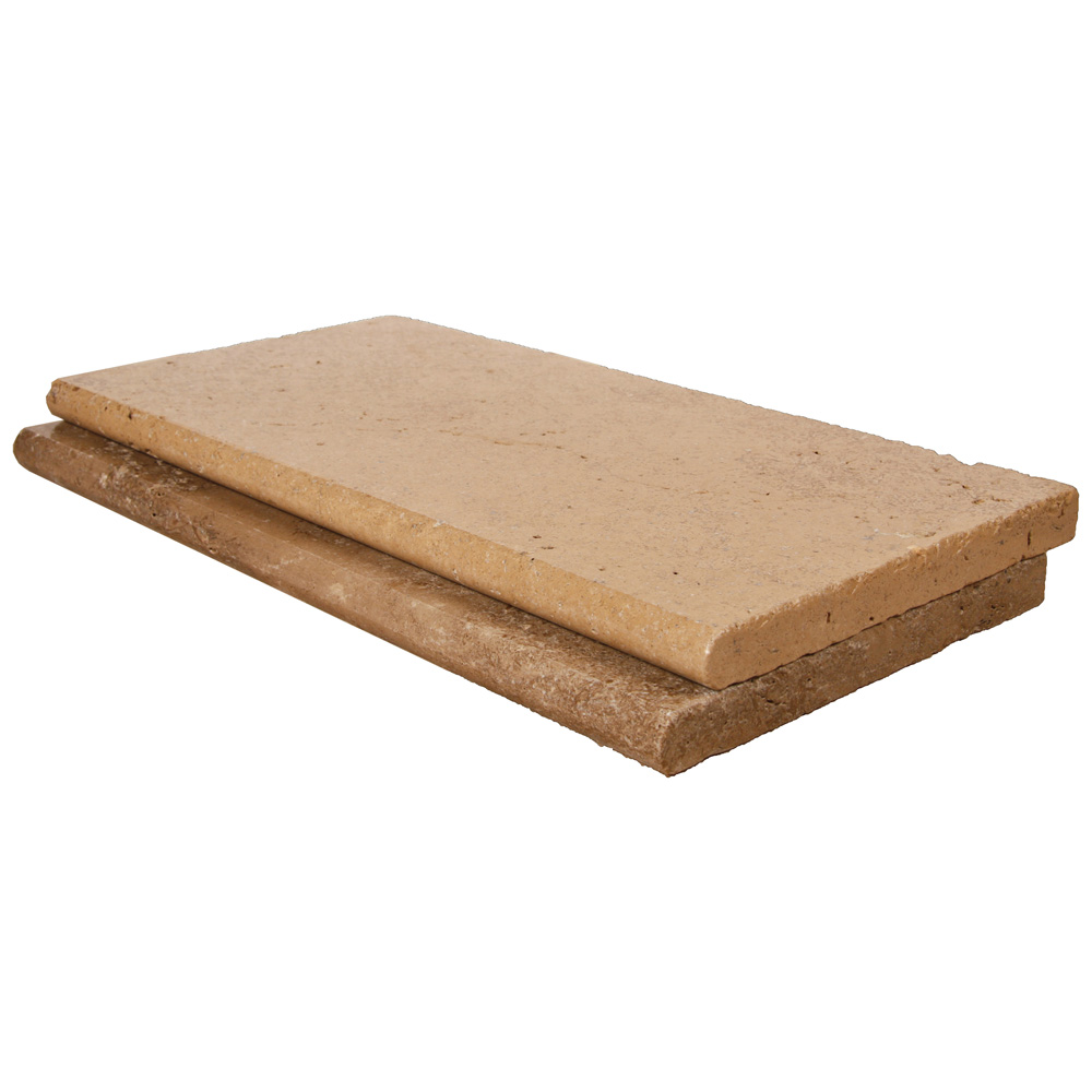 Noce Bullnose Travertine Pool Copings 12x24-pool copings sale-Atlantic Stone Source