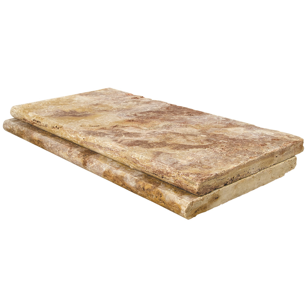 Peach Blend Bullnose Travertine Pool Copings 12x24-pool copings sale-Atlantic Stone Source