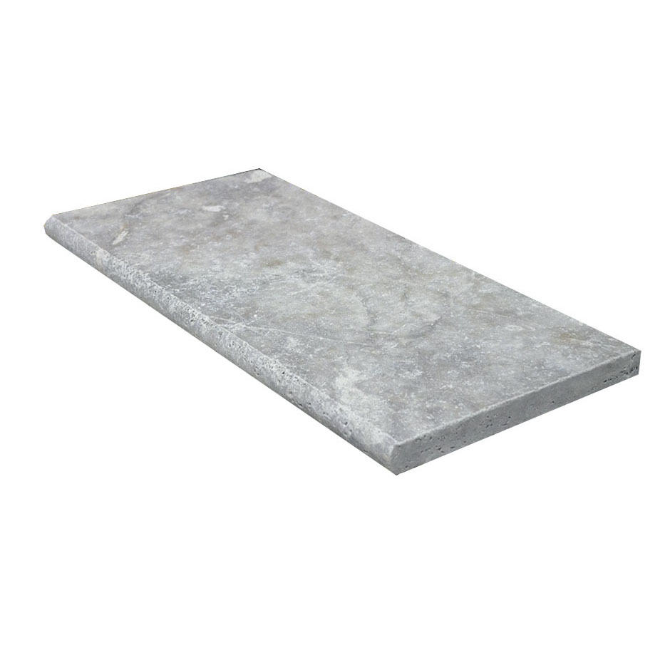 Silver Bullnose Travertine Pool Copings 12x24-pool copings sale-Atlantic Stone Source