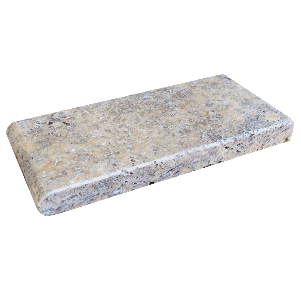 Silver Bullnose Travertine Pool Copings 6x12-pool copings sale-Atlantic Stone Source