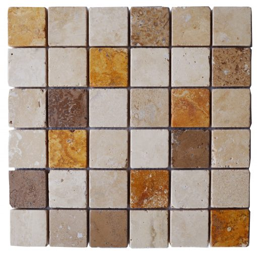 Emperador White Noce Mix Tumbled Marble Travertine Mosaic Tiles 2x2