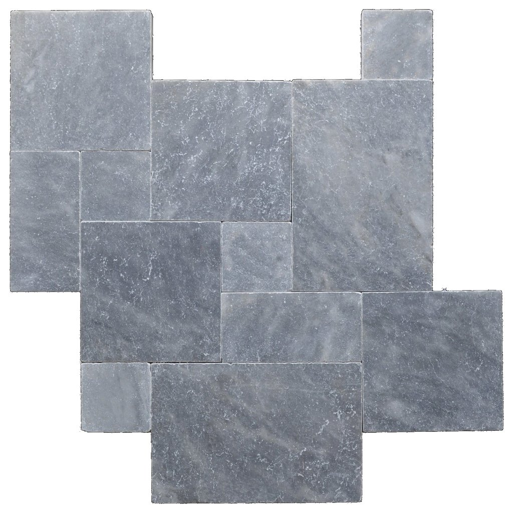 Sky Blue Tumbled French Pattern Marble Pavers