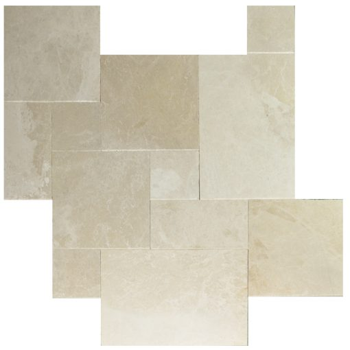 Botticino Beige Tumbled French Pattern Marble Pavers