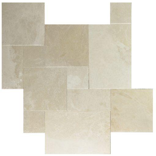 Botticino Beige Tumbled French Pattern Marble Pavers