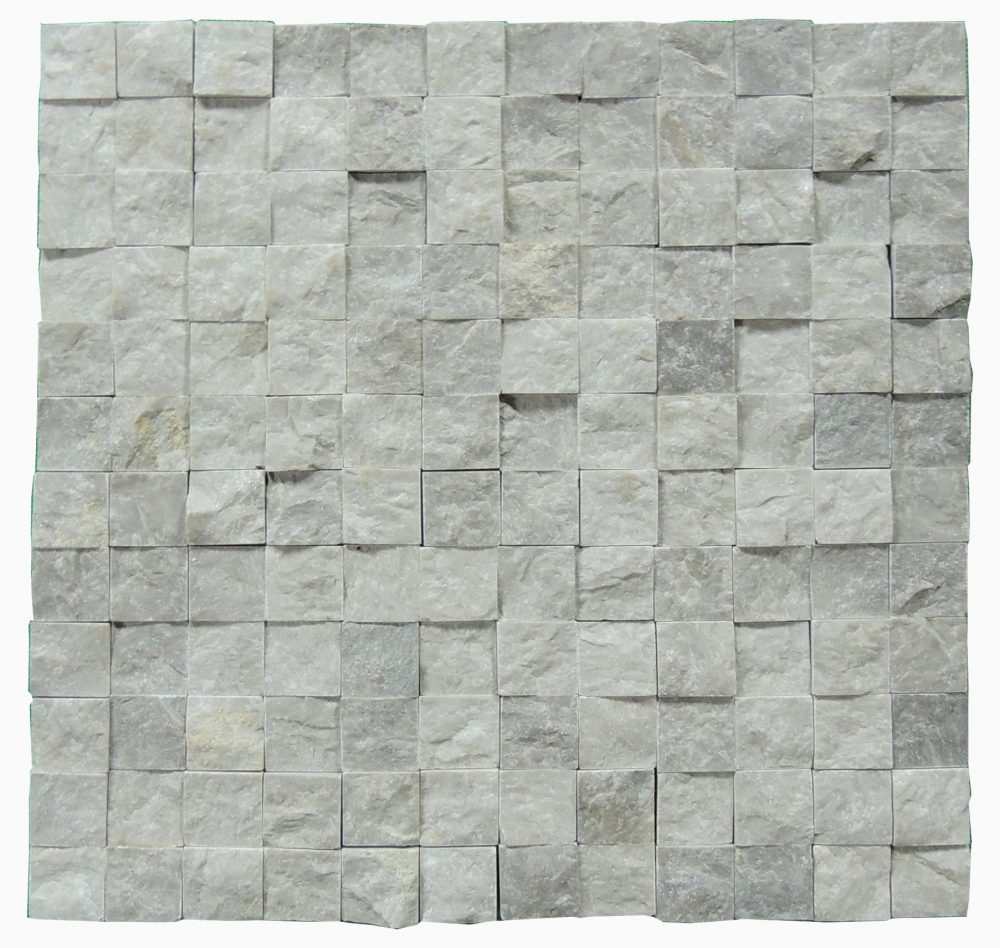 Silver Split Face Marble Mosaic Tiles 1x1 Natural Stone