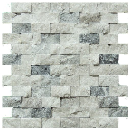 Silver Split Face Travertine Mosaic Tiles 1x2