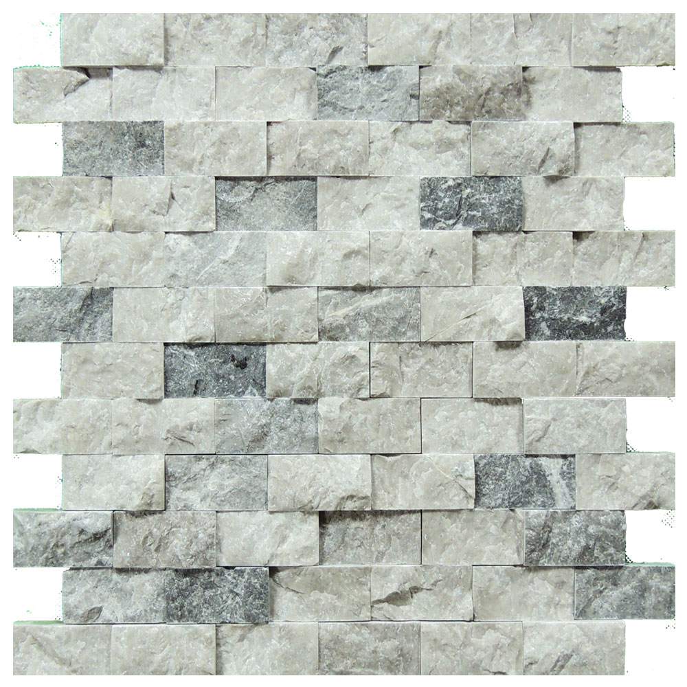 Silver Split Face Travertine Mosaic Tiles 1x2