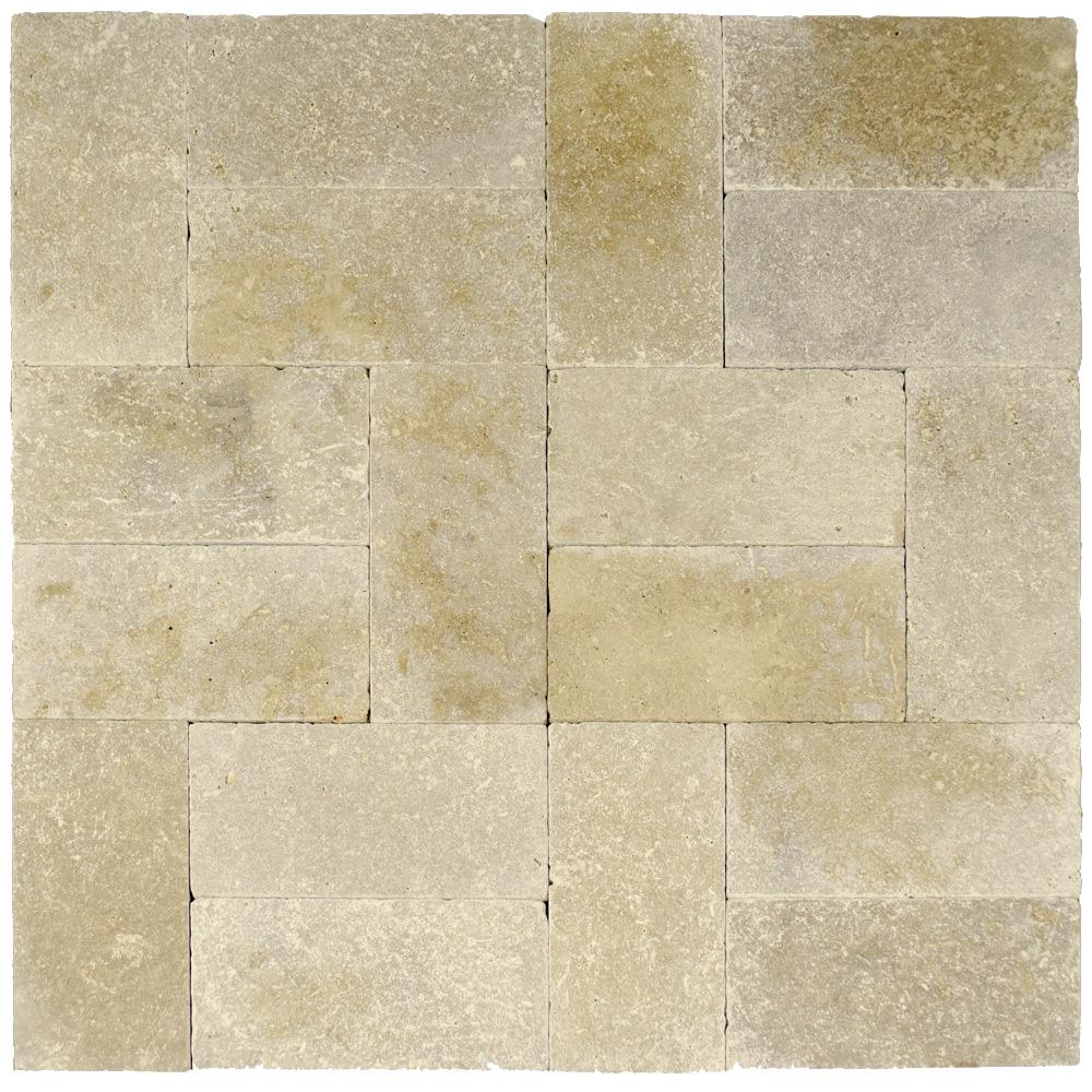 Walnut Tumbled Travertine Pavers 6×12
