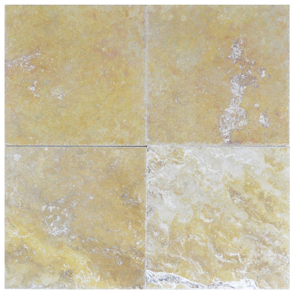 Ivory Light Honed Filled Travertine Tiles 18x18: Gold Honed Filled Chiseled Travertine Tiles 18x18