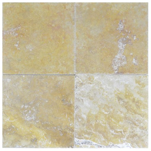 gold honed and filled chiseled travertine tiles 18x18 -Travertine tiles sale-Atlantic Stone Source