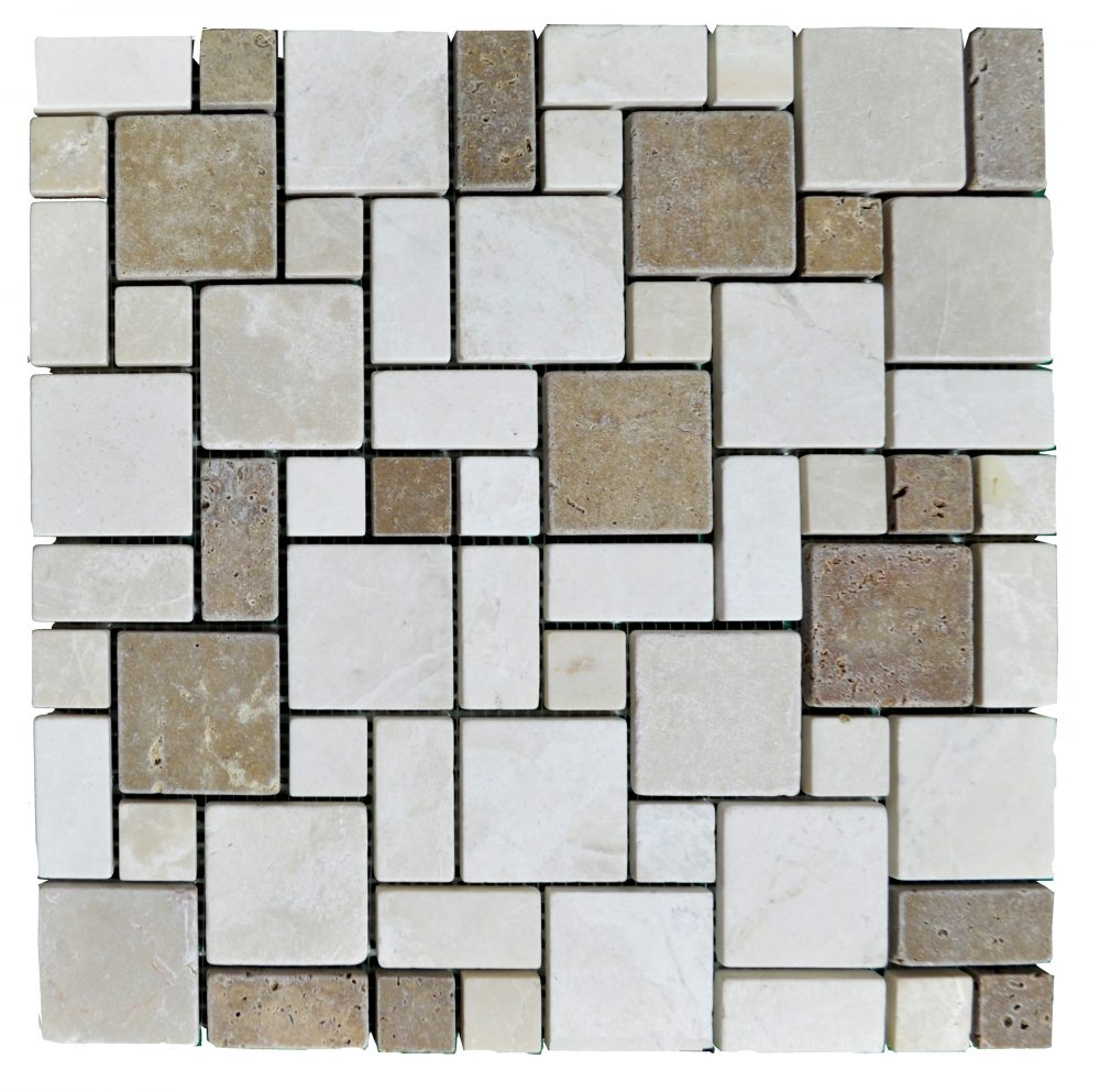 Botticino Noce Tumbled Mini French Pattern Mosaic Tiles